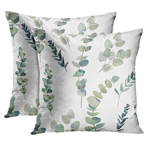 Emvency Set of 2 Throw Pillow Covers Decorative Green Leaf Watercolor Eucalyptus Branches Hand Floral with Plant Objects on White Natural Greenery Twig 16x16 Inch Cushion Pillowcase Sofa Square Print