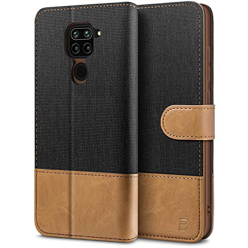 BEZ Funda Xiaomi Redmi Note 9, Carcasa para Xiaomi Redmi Note 9 Libro de Cuero con Tapas y Cartera, Cover Protectora con Ranura para Tarjetas y Billetera, Cierre Magnético, Negro