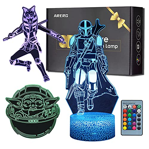 ARERG 3D Illusion Star Wars Night Light,3 Pattern Mandalorian&The Chile&Ahsoka Tano Visual Lamp for Room Decor,Great Christmas Birthday Gifts for Kids and Star Wars Fans Boys Girls Men