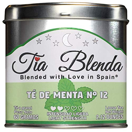 TIA BLENDA - TÉ DE MENTA Nº 12 (60 g) - Refrescante TÉ VERDE GUNPOWDER Chino Premium con MENTA. Té en hojas. 40 - 50 tazas. Presentación premium en lata. Loose Tea Caddy