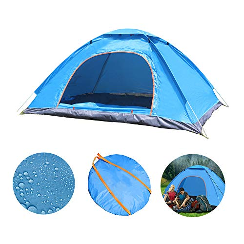 Instant Pop Up Tent 4 Person, Portable Automatic Dome Beach Tent, Outdoor Camping Tent, Sun Shelter Cabana, UV Protection and Lightweight, Suitable for Family Garden Holiday Hiking Fishing, Sky Blue