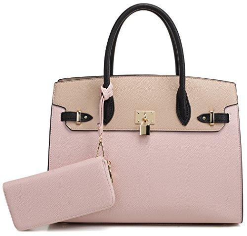DELUXITY Women's Designer Top Handle Satchel Handbag Tote Bag Briefcase 2pc set | Blush/Beige