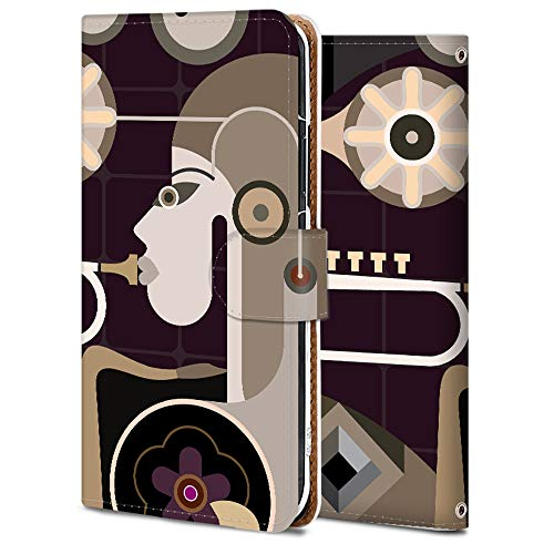 Zenfone Max M2 ZB633KL スマホケース 手帳型 カメラ穴 スタンド機能 カード収納 耐衝撃 高級PUレザー 全面保護 軽量 オリジナルなデザイン オーダーメイド 多機種対応 抽象画-笛を吹く女の子 ファッション 11769
