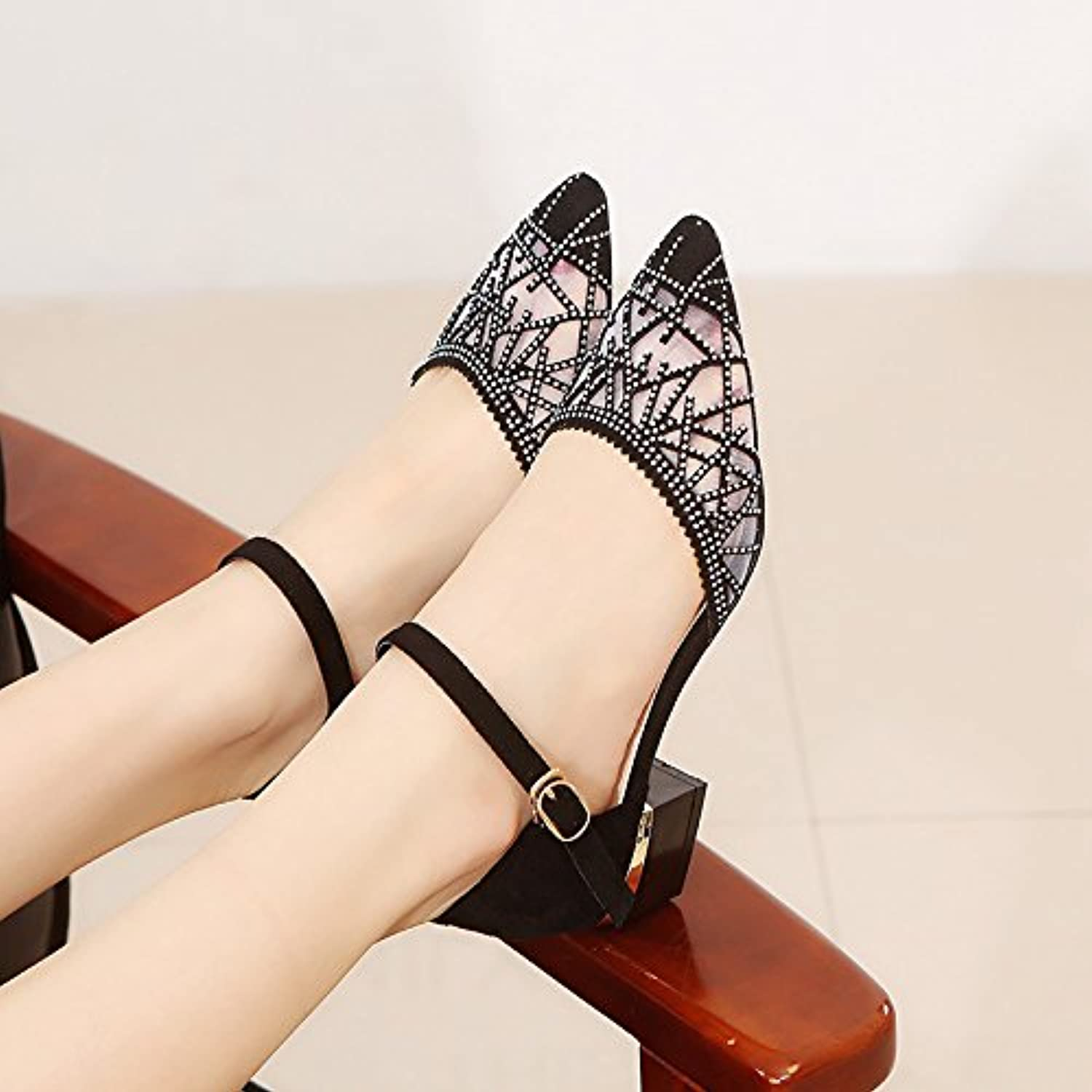 XKNSLX Casual Heel and Sandals Heels Pointed shoes and Rough Sandals