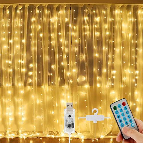 Mture LED Lichtervorhang 3Mx3M, LED Lichterkette, 300 LEDs USB Lichterkettenvorhang mit Fernbedienung, IP67, 8 Modi Vorhanglichter String Light für Zimmer Deko, Innenbeleuchtung, Weihnachten, Warmweiß