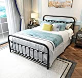 Black Metal Bed Frame Queen Size with Headboard and Footboard Single Platform Mattress Base,Metal Tube and Iron-Art Bed(Queen,Black)