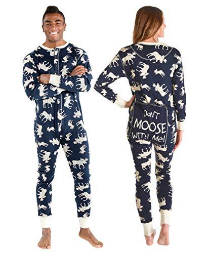 LazyOne Flapjack, Matching One-Piece Pajamas with Drop Seat, Adult XS–XXL (Classic Moose Blue, Large)