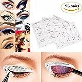 yovvin 96pares Eyeliner Plantilla Pegatinas Smokey Shaper sombra dibujo guía plantilla belleza rápida herramientas de maquillaje