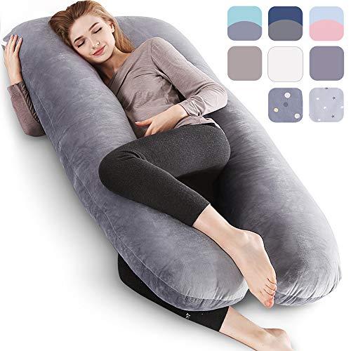 BalladHome®U-förmiges Kissen Schwangerschaftskissen Kissen Pregnancy Pillow Washable Velvet Cover Intimes Geschenk– (140X80cm,Plüsch, Grau)