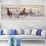 Caballo corriendo pintura en lienzo impresiones de lienzo modernas sin marco para la decoración del hogar carteles de lona personalizados impresiones baratas 50x150 CM (sin marco)