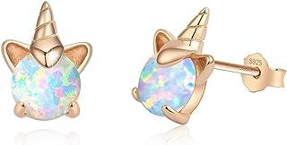 Rose Gold Unicorn Earrings for Girls, Hypoallergenic S925 Sterling Silver Stud Earrings ARSKRO Fire Opal Mini Tiny Cute An...