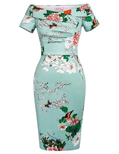 Belle Poque büro Kleid Damen Bodycon Kleid Knielang Partykleid Etuikleid ballkleid Größe 46 BP117-7