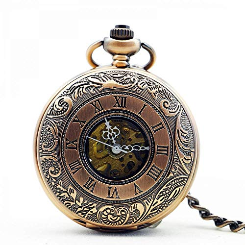 WMYATING Atmosphère Nouvelle et Haut de gamme, précision de Classic Retro Nostalgia Verde Bronce Romano Hueco Tallado Bolsillo mecánico Reloj Hombre señorita Reloj de Regalo Reloj Memorial Reloj