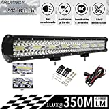 RUILITECH 23' 640W DC 12v 24v 3-Filas Barra de Luz LED Combo de Haz de Trabajo Para Tractor Off Road 4WD 4x4 Camión SUV ATV + Equipo de Cableado [Clase de eficiencia energética A+++]