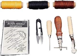 Kit de Gravure sur Cuir Ensemble D'outils en Cuir 9 Pièces Ensemble De Bricolage en Cuir Fait à La Main en Cuir Cousu à La...