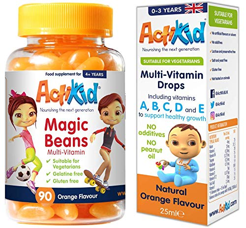 2 Pack ActiKid Magic Beans Multi-Vitamin 90x Orange Flavour & Multi-Vitamin Drops 25ML (for Babies,Infants and Children) | Gelatin Free | Immune Booster Supplement | Vitamin C |