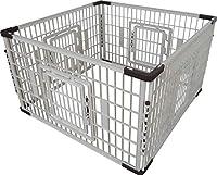 PET TIME 超大型 ペットフェンス(4P)犬/猫/ペット用 大型 サークル フェンス 4ドア L字型固定プレート付き 1070 x 1070 x 620 mm LSF-1500