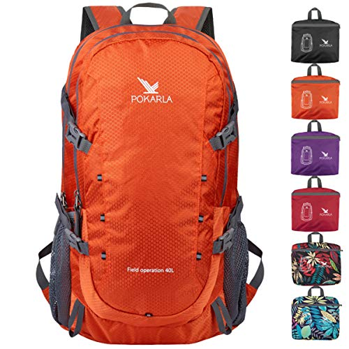 POKARLA 40L Hiking Backpack Lightweight Packable Water Resistant Travel Daypack