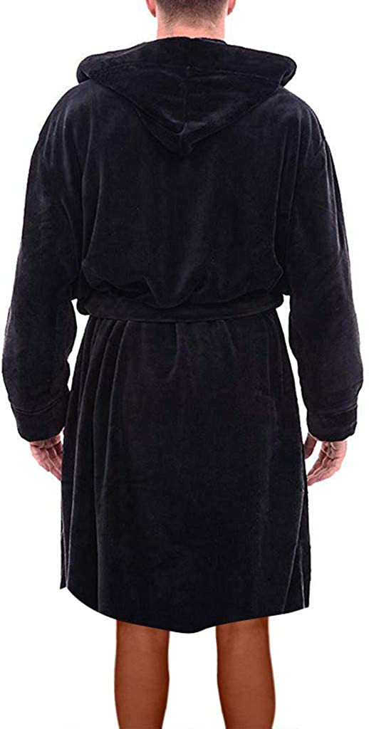 SDCAJA Dressing Gown for Men Fluffy Fleece Mens Dressing Gowns with Mens Winter Plush Lengthened Shawl Bathrobe Home Clothes Long Sleeved Robe Coat