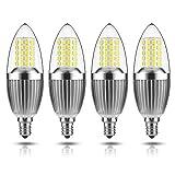 GEZEE LED Candelabra Bulb, Non-Dimmable 100-Watt Light Bulbs Equivalent, 12W LED Candle Bulbs,Daylight White 6000K Chandelier Bulbs, E12 Candelabra Base, 120V, 1200Lumens, Torpedo Shape(4 Pack)