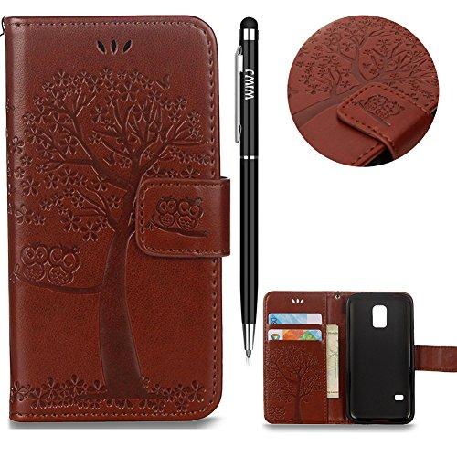 Galaxy S5 Mini Handyhülle,Galaxy S5 Mini Hülle,WIWJ PU Cover Case Leder[Gedrucktes Muster Baum und Eule Handyhülle]Hülle für Samusng Galaxy S5 Mini-Braun