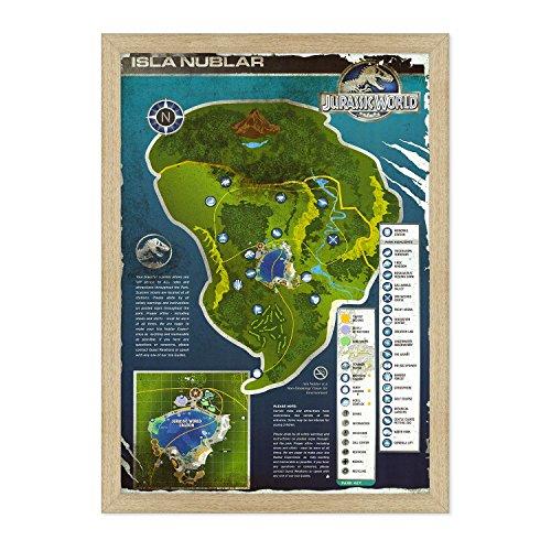 Póster original de la película Conkrea con marco – enmarcado – Jurassic World – Mapa Isla Nublar – Tamaño 70 x 100 cm