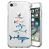 Fashion Anti-Scratch Soft Durable TPU Ultra-Clear Silicone UV Printing Protective Shark Family Phone Case for iPhone 7 8