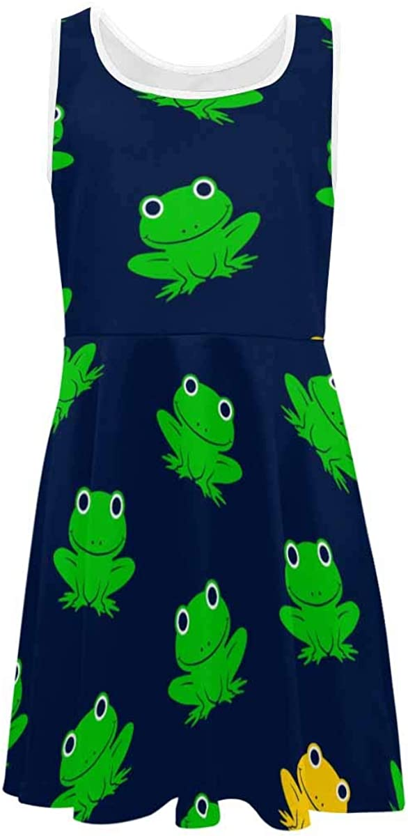 INTERESTPRINT Girls Sleeveless Dresss Crew Neck Casual A-Line Sundress 4-13 Years Cute Frogs S