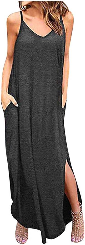 Seattle Mall Hengshikeji Women's Summer Casual Sleeveless V Spli Neck Strappy Max 75% OFF