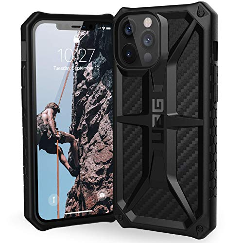 URBAN ARMOR GEAR UAG Designed for iPhone 12 Pro Max Case [6.7-inch screen] Rugged Lightweight Slim Shockproof Premium Monarch Protective Cover, Carbon Fiber