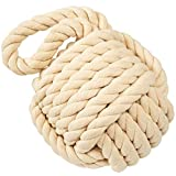 Golant Rope Knot Doorstop Nautical Large Heavy Decorative Complete with Extra Wall Stopper Cream Cotton Yarn Monkey Fist with Handle Interior Sailors Maritime Ocean Beachy Navy Wedge Bookend Door Stop