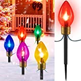 Jumbo C9 Christmas Lights Outdoor Decorations Lawn with Pathway Marker Stakes, 6 Feet C7 String Lights Covered Jumbo Multicolored Light Bulb, for Holiday Time Outside Yard Garden Decor, 5 Lights