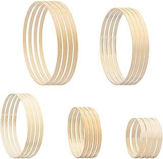 NBEADS 20Pcs Dream Catcher Hoops, 5 verschiedene Größen Holz Bambus Kreis Ring Für DIY Traumfänger Hochzeitskranz Basteln Machen, Durchmesser: 9.6/12.4/14.3/17.8/19.4 cm