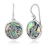 925 Sterling Silver Hummingbird Drinking Flower Nectar Abalone Shell Round Dangle Hook Earrings 1.3'