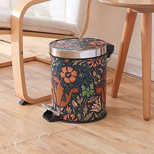 WYJW Keuken afvalbak, ronde afvalbak gemaakt van roestvrij staal voor slaapkamer met schommel (kleur: ZWART)
