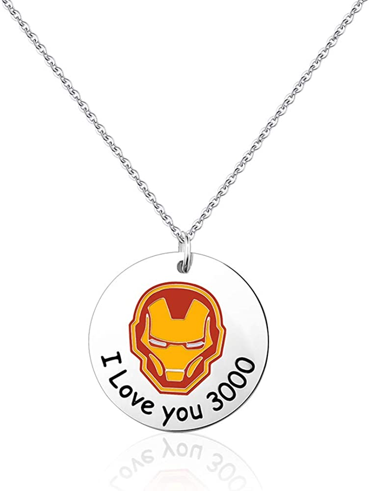 SUNSH I Love You 3000 Pendant Necklace for Women Teen Girls Boys Kids Couple Best Friends Cute Iron Man Fan Gift Inspirational Jewelry Friendship Sister Father Dad Son Mother Daughter Gifts
