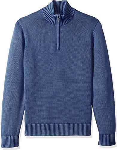 Amazon Brand - Goodthreads Men's Soft Cotton Quarter Zip Sweater, Washed Blue, X-Small
