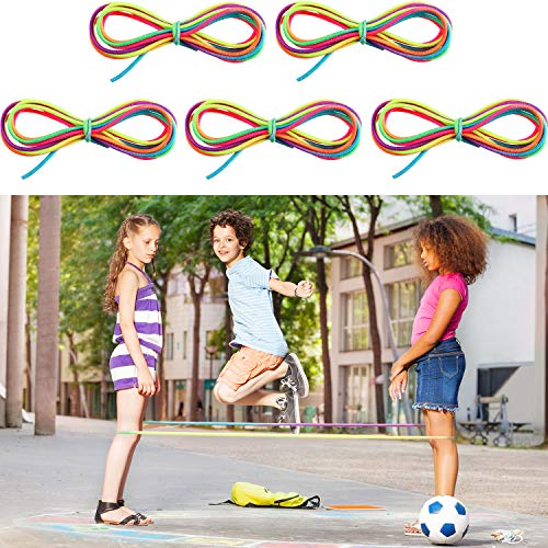 5 Pieces Chinese Jump Ropes Colorful Stretch Rope Elastic Fitness Game for Outdoor Exercise