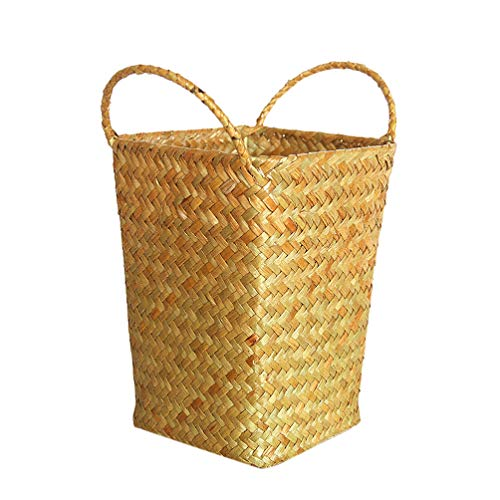 MILISTEN Cesta de Mimbre Tejida Caja de Almacenamiento de Paja Caja de Planta Trenzada Decorativa con Asas para Jardín de Infantes Bar Hogar (Tamaño Amarillo S)
