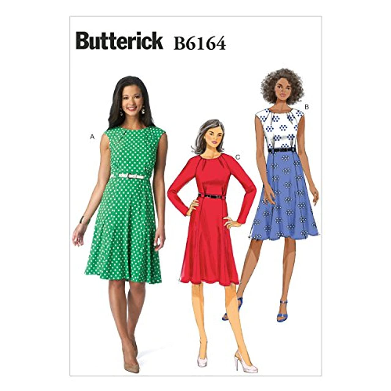 BUTTERICK PATTERNS B6164A50 Misses' Dress Sewing Template, A5 (6-8-10-12-14)