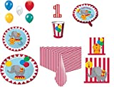 Disposable Plates, Napkins, Cups, Tablecloth, Balloons, Candle Circus Time Happy Birthday - Themed Party Pack, 8-Piece Bundle.