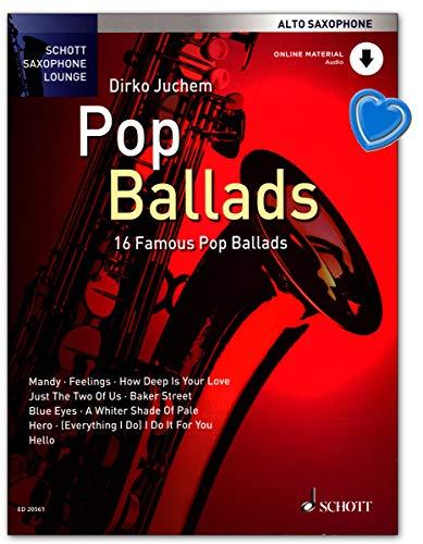 Pop ballads voor oud-saxofoon - serie: Schott saxofoon lounge van Dirko Juchem - muziekboek met CD en kleurrijke hartvormige muziekklem
