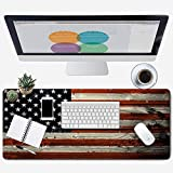 ZYCCW Large Gaming XXL Mouse Pad 31.5'x11.8'x0.15' Picking Hummingbirds Mouse Mat Customized Extended Gaming Mouse Pad Anti-Slip Ergonomic Mouse Pad for Computer (American Flag)