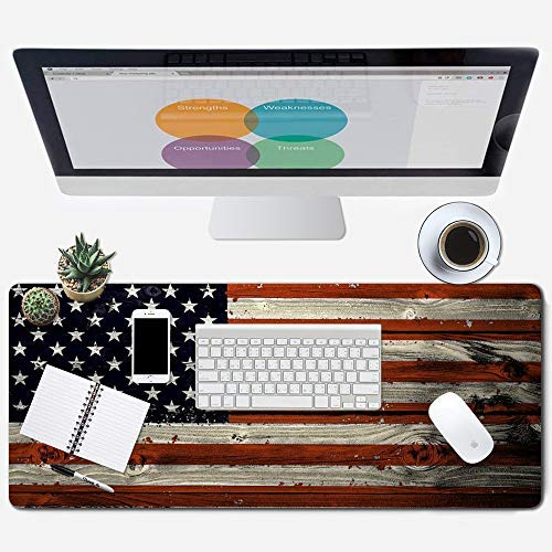 """ZYCCW Large Gaming XXL Mouse Pad 31.5""""x11.8""""x0.15"""" Picking Hummingbirds Mouse Mat Customized Extended Gaming Mouse Pad Anti-Slip Ergonomic Mouse Pad for Computer (American Flag)"""
