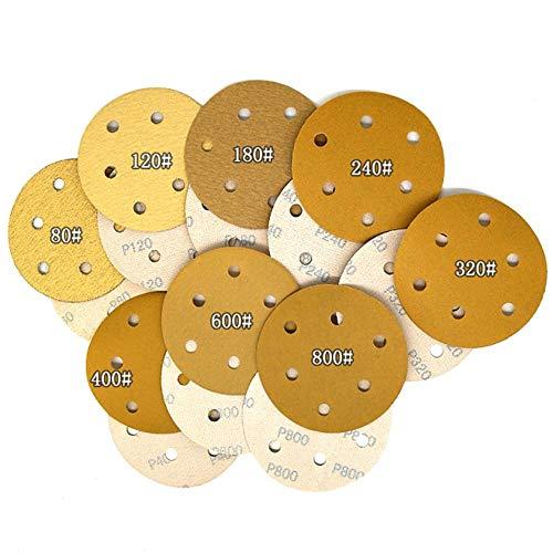 Piner 5-100 stuks stroomden geel schuurpapier schijf 5 inch 6 gaten zelfklevend voor polijsten schurende gereedschappen elektrische slijpmachine accessoires, 600,5 inch (10 stuks)