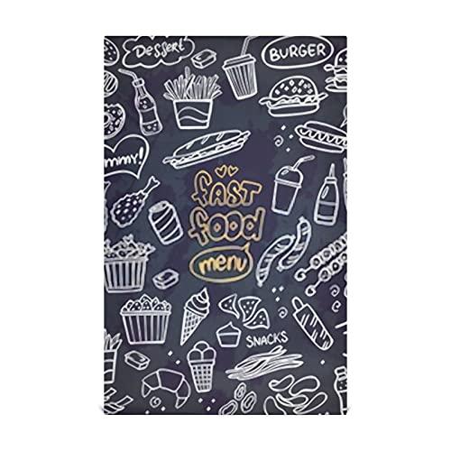 Juego de toallas de cocina de 4 18 x 28 pulgadas para cocinar y secar paños de cocina, juego de garabatos de comida rápida en la pizarra Toallas de mano Toallas de té para la limpieza de la casa Uso