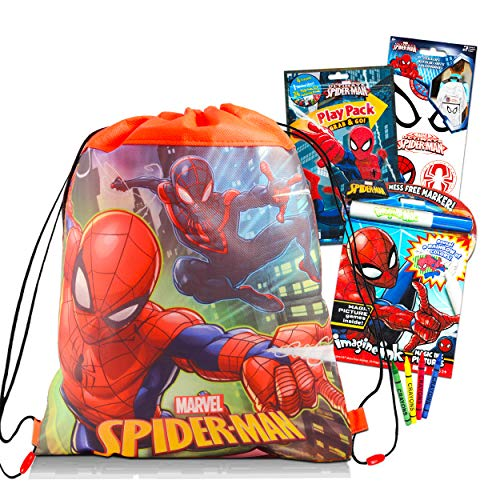 Marvel Spiderman Travel Bag Bundle 4 Pack Spiderman Activity Set - Spiderman Travel Set with Coloring Books, Games, Puzzles, and Spiderman Stickers