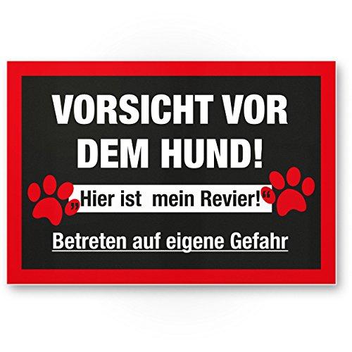 Komma Security Warnung vor dem Hund Kunststoff Schild - hier ist mein Revier Hinweisschild wetterfest Hundeschild Gartentor Einfahrtstor die Haustür Türschild Abschreckung Warnschild Einbruchschutz