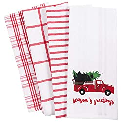 Kitchen towels to go into a holiday gift basket.