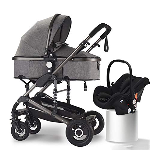 Lowest Price! 3 in 1 Baby Stroller, High Landscape Infant Pushchair Stroller, Foldable Pram with Adj...